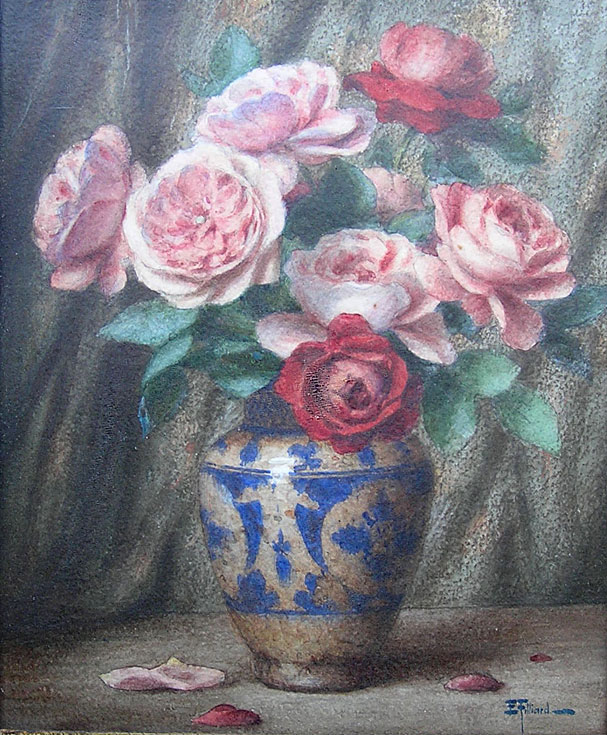 Ernest Filliard: Roses in a Blue Vase