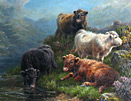 Charles Edward Watson: Highland Cattle by Loch Tay