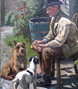 John Ley Pethybridge Painting: Sharing his lunch