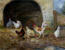 Chickens by an arch