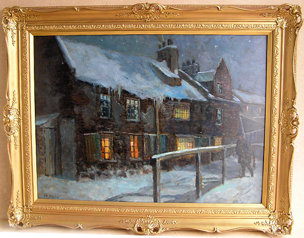 John Falconer Slater Painting: Winter In North Shields