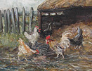 Hens by a hay barn