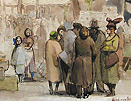 Edward Ardizzone original, The Bird Market, Paris