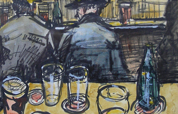 Norman Cornish painting, Down the Local