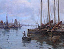 John Gilroy Painting 'The River at Sunderland'