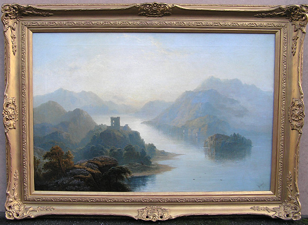 George Blackie Sticks painting: Castle on Loch, Scotland