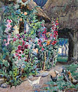 John Falconer Slater watercolour: A Cottage Garden