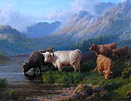 Sydney Robert Watson: Highland Cattle in Glen Kinglas, Argyll