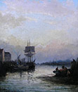 William Thornely painting: Rochester Harbour at Sunset
