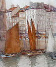 Victor Noble Rainbird painting: Le Grand Quai, Le Havre