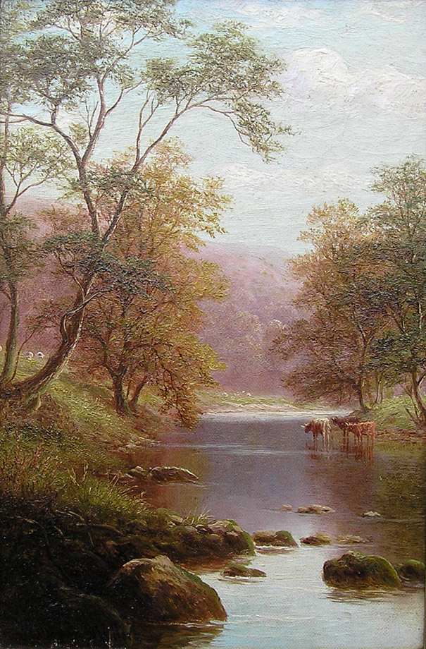 William Mellor oil painting: on a Yorkshire river