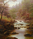 William Mellor painting: Sheep by a Yorkshire River