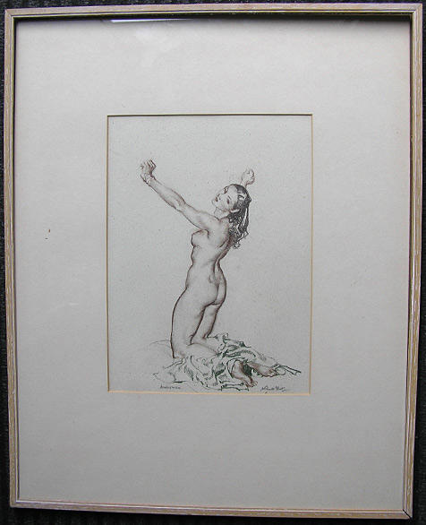 William Russell Flint original signed drawing: Andromeda