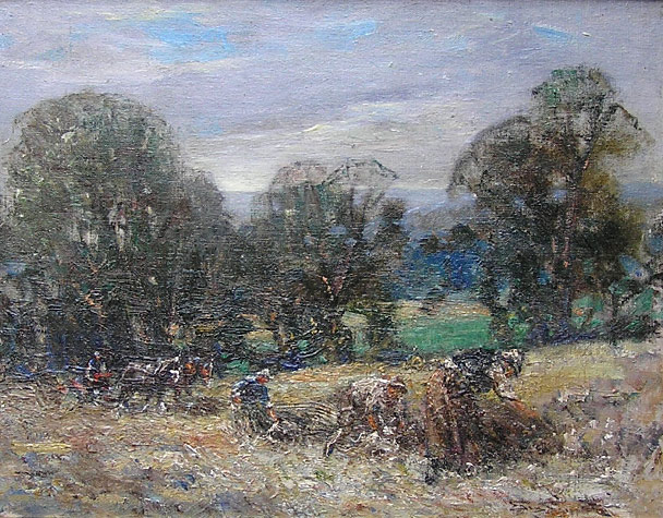 George Smith painting: Harvesting horses
