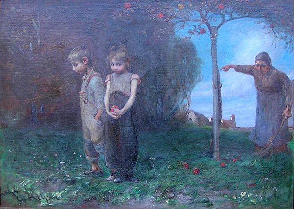 Emil Keyser German 1846 1923 Expulsion From The Garden Of Eden For Sale