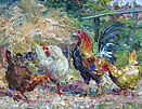 John Falconer Slater Oil painting: hens