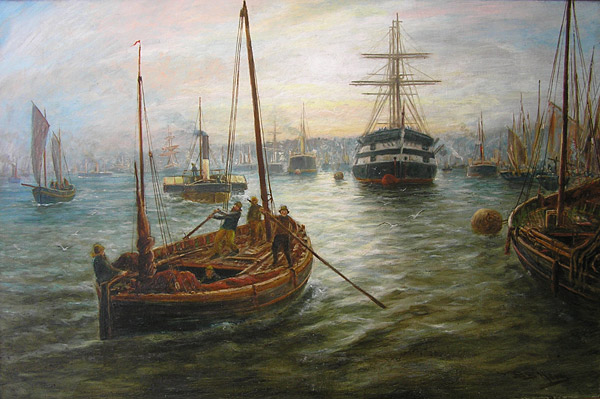 BB Hemy painting: Ships on Tyne