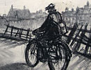 Norman Cornish drawing: Miner on Bike