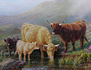 William R C Watson:Cattle by a Stream