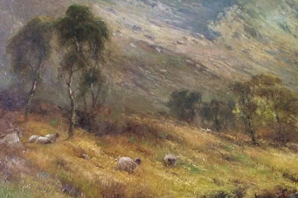 A Mountain Pass.A.F.Breanski.Sheep.