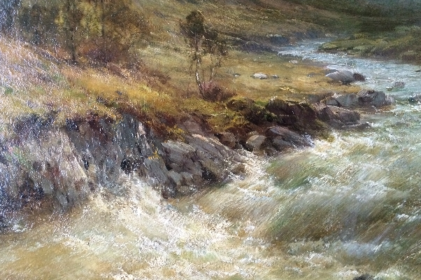 A Mountain Pass.A.F.Breanski.River.