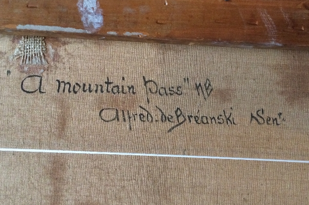 A Mountain Pass.A.F.Breanski.Sign.