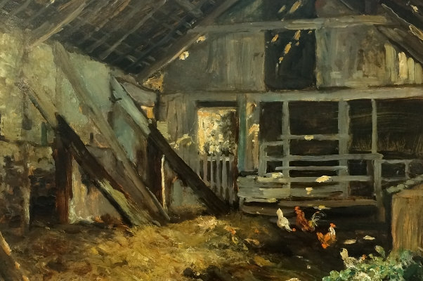 Barn and Chickens.J.F.Slater