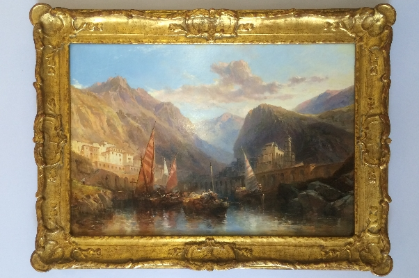 Sailing through mountain scene.Frame.J.Webb