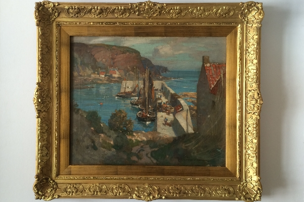 Burnmouth Harbour.J.W.Hamilton.Frame.