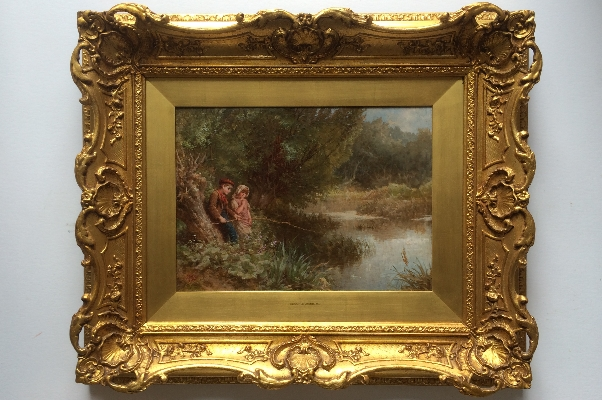 Boy and Girl Fishing in River.Frame.Henry.LeJeune.