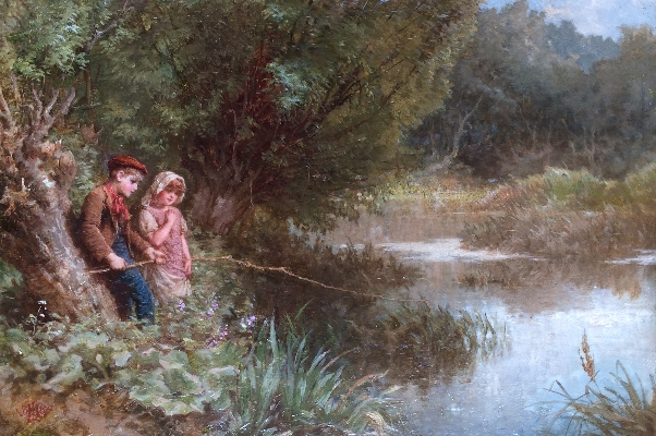 Boy and Girl Fishing in River.Henry.LeJeune.