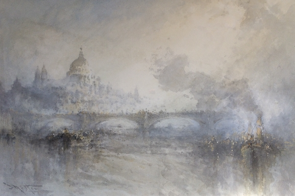 Steamboat and St.Paul's from the Thames.Frank Wasley.