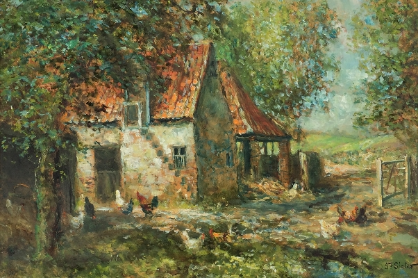 Farm Yard with Chickens.J.F.Slater