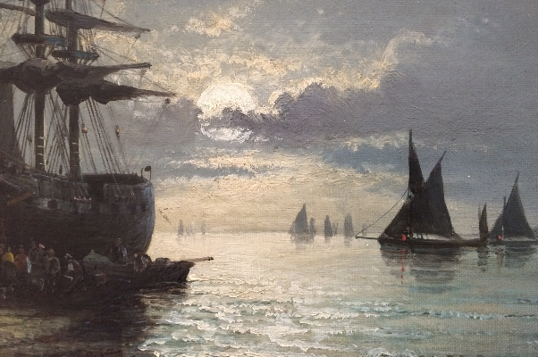 Fishermen arriving at sunset. W.Thornley. detail.