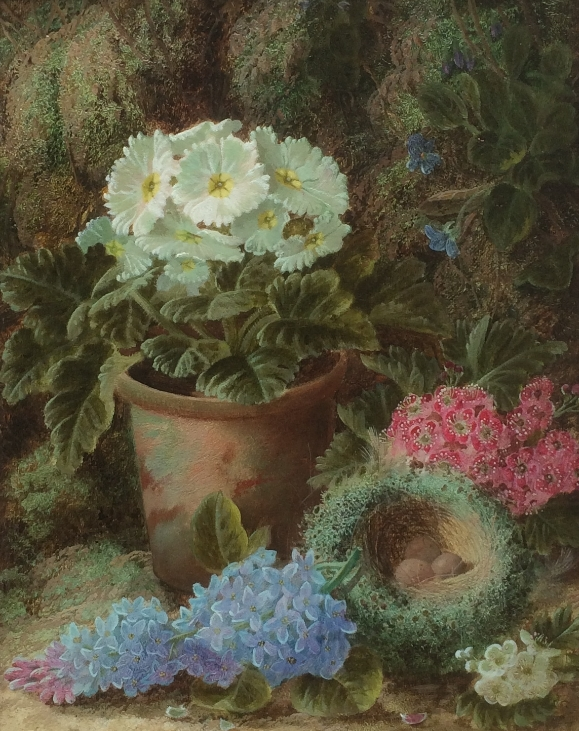 Primulas,Lilac,a Bird's Nest and other Flowers.Oliver Clare.