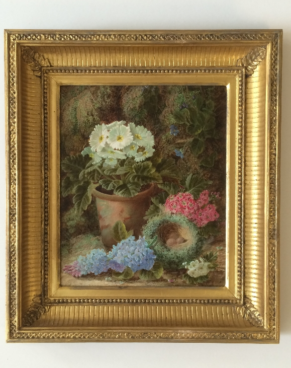 Primulas,Lilac,a Bird's Nest and Flowers.Frame.Oliver Clare.