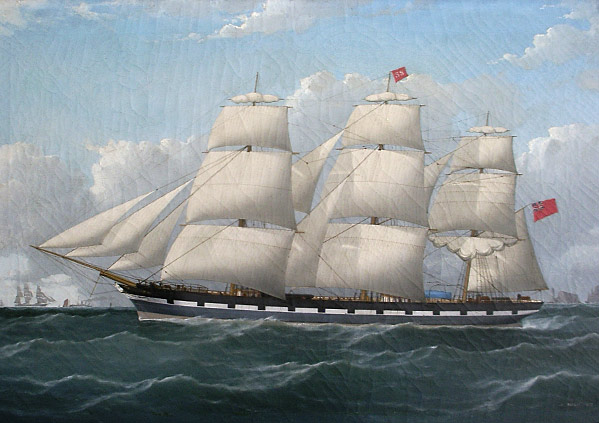 Frederick J Tudgay Sailing Barque off the Needles