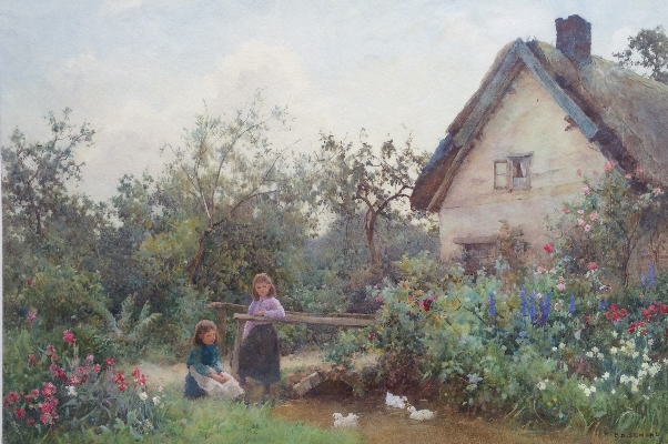 Girls with ducks in cottage garden.B.D.Sigmund.