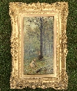 Picking Flowers in the Forest.Frame.E.A.Waterlow