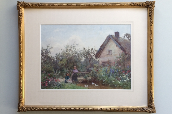 Girls with ducks in cottage garde. Frame. B.D.Sigmund.