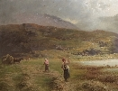 Hay making by the Loch.Charles Stuart.