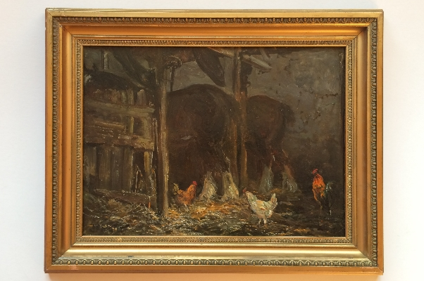 Barn with Horses and Chickens.Frame.J.F.Slater