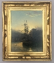 Sailing Ship at Dusk, Mouth of the Tyne.Frame.J.D.Liddell.