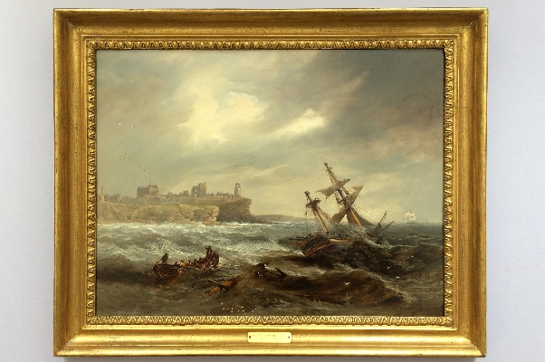 Salvaging a Wreck off Tynemouth.J.W.Carmichael.Frame.