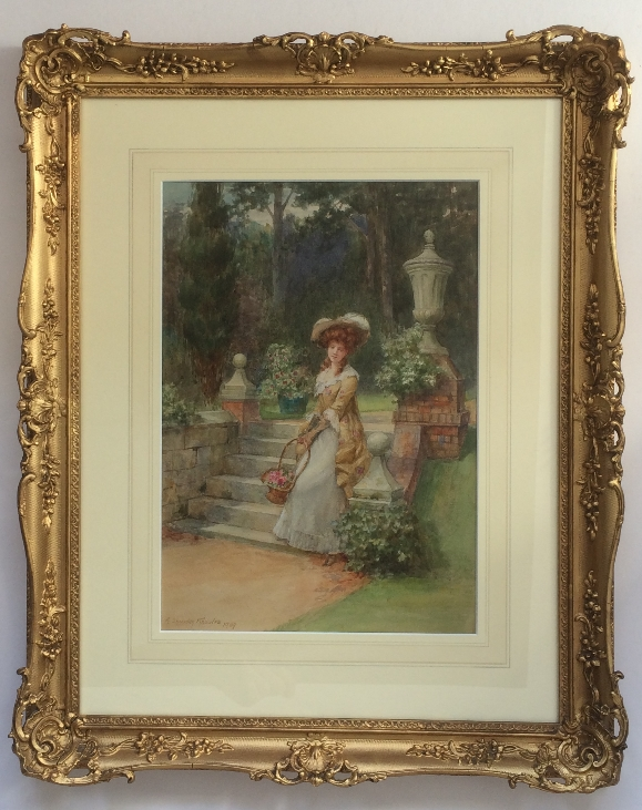 Lady with flowers in Garden.Frame.G.Sheridan Knowles