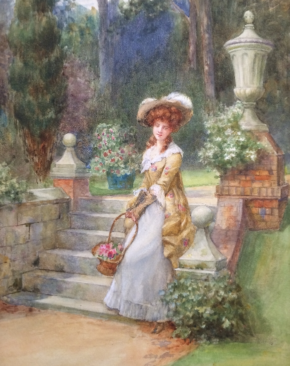 Lady with flowers on gargen steps.G.Sheridan Knowles