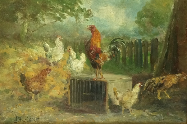 Poultry in a farm yard.J.F.Slater