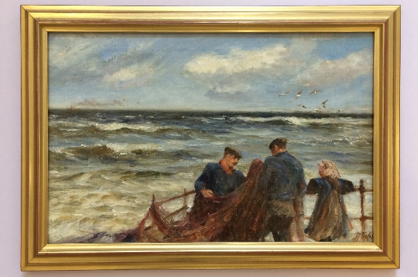 Fishing folf preparing their nets.Frame.Robert Jobling