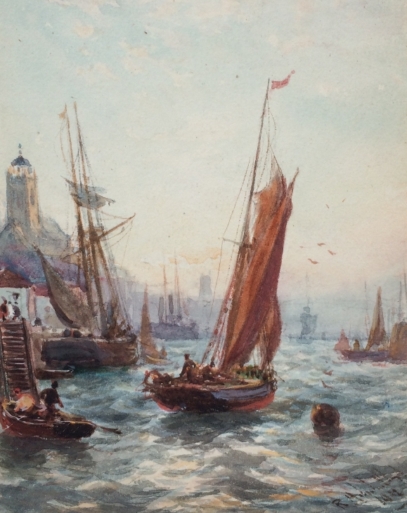 Sail Boats in Harbor.R.M.Lloyd