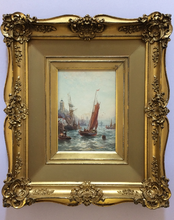Sail Boats in Harbour.Frame.new.R.M.Lloyd